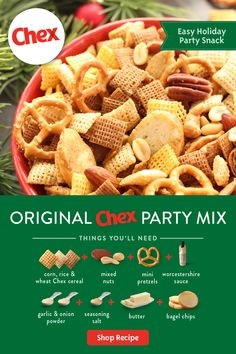 Snack Mix Recipes, Chex Mix Recipes, Appetizer Recipes, Cooking Recipes, Candy Recipes, Chex Party Mix, Christmas Snacks, Christmas Candy, Christmas Crafts