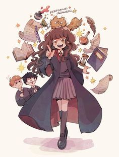 Harry Potter Cartoon, Harry Potter Girl, Harry Potter Artwork, Harry Potter Magic, Harry Potter Drawings, Harry Potter Hermione, Harry Potter Pictures, Harry Potter Universal, Hermione Granger Art
