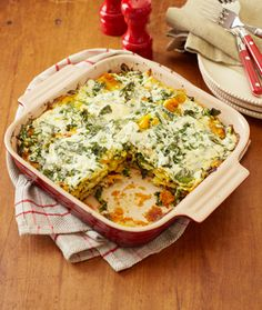 #Lasagna layered with spinach and squash and complimented by hints of nutmeg make it the perfect winter #dinner. #recipe