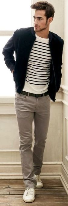 Navy Linen Jacket, White and Navy Striped Tee, and Greige Chinos. Men's Spring Summer Fashion.