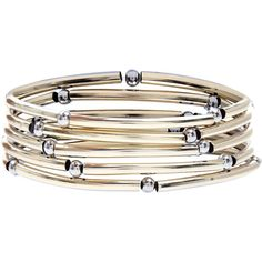 New Look Silver and Gold Curved Tube Stretch Bracelet Pack ($2.94) ❤ liked on Polyvore featuring jewelry, bracelets, multicolour, multi color jewelry, colorful bangles, multi colored jewelry, stretch jewelry and gold and silver jewelry