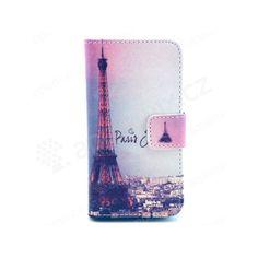 Vyklápěcí pouzdro pro Apple iPhone 4 / 4S se stojánkem a prostorem na osobní doklady - Eiffelovka