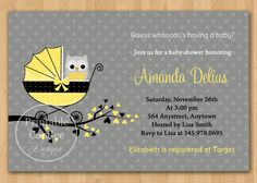 Gender Neutral Owl Baby Shower Invitation - Custom Printable, via Etsy. Also available: matching party package.