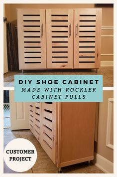 Homemade shoe cabinet by Mark Z., made using Rockler Polished Chrome Naples Cabinet Pulls.