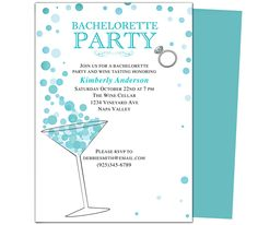 Printable DIY Bachelorette Party Invitations Templates : Martini Bachelorette Party Invitation Template