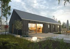 Small Cottage Homes, Cottage House Plans, New House Plans, Modern Barn House, Modern Cottage, Steel Framing, Small Barns, Black House Exterior, Long House