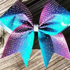 Ombre glitter dye sublimated bow with clear rhinestones – BRAGABIT