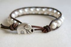 Elephant wrap bracelet, boho jewelry, good luck White Swarovski crystal pearls bracelet, hipster, gift for best friend, lucky jewelry