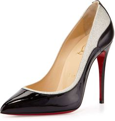 Christian Louboutin Tucskick GIittered Red Sole Pump, Black/Ivory