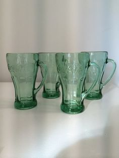 4 VINTAGE COKE GLASSES by TwoFireflys on Etsy