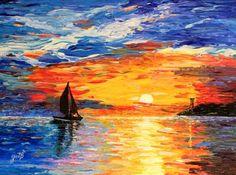 """Saatchi Art Artist Georgeta Blanaru; Painting, """"Romantic Sea Sunset acrylic palette knife painting"""" #art"""