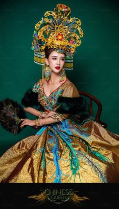 宮阙 Oriental Fashion, Asian Fashion, Fashion Art, Traditional Fashion, Traditional Dresses, Headdress, Headpiece, China Girl, Chinese Clothing