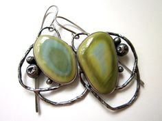 The Birthplace of Dreams - primitive abstract asymmetrical pastel blue green imperial jasper sterling silver hoop bezel metalwork earrings by LoveRoot on Etsy