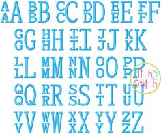 """I2S Stacked Serif Embroidery Monogram Font in sizes: 1"""", 1.5"""", 2"""", 2.5"""" & 3"""""""