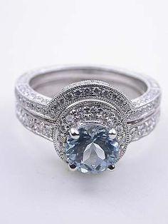 Antique Style Aquamarine Engagement Ring, RG-2955u Love the matching wedding band