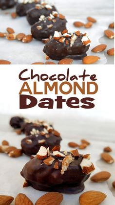 Dark chocolate covered dates with almonds. Raw chocolate coating can be made with cacao butter or coconut oil. Use raw cacao powder to make raw and more nutritious. Works best with Medjool dates or similar large soft sweet date. #raw #vegan #healthy #chocolate #almond #date