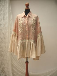 112.00  PLUS SIZE Shabby chic tunic gypsy cotton blouse by WILDandROMANTIC