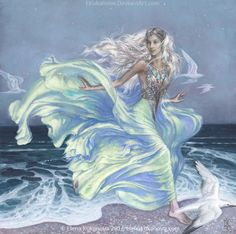 Alone of the princes of the Noldor those of Finarfin's house were suffered to pass within the confines of Doriath; for they could claim close kinship with King Thingol himself, since their mother was Eärwen of Alqualondë, Olwë's daughter. ~ The Silmarillion, Chapter 13 (Earwen by EKukanova on deviantART)