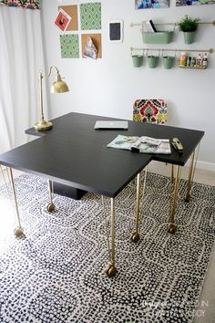 home decor ikea WOW! You would never know this is an Ikea desk hack! Talk about a designer look on a budget. Another fantastic Ikea hack by Designer Trapped in a Lawyers Body. Ikea Linnmon Desk, Ikea Desk, Hacks Ikea, Desk Hacks, Inexpensive Home Decor, Cheap Home Decor, Diy Home Decor, Coin Couture, Cheap Furniture Near Me