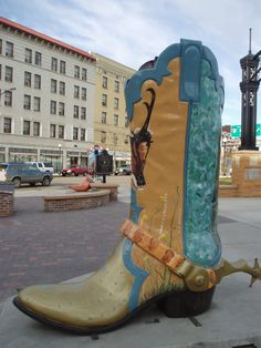 Cheyenne, Wyoming - These Boots are Made for Talkin' -  fiberglass boot statues, 8 foot high, 8 foot long