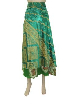 Amazon.com: Reversible Wrap Around Skirts Green Printed Sari Skirt, Multi Wear Dress: Clothing