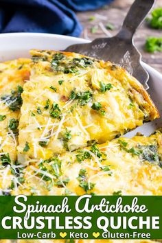 This Spinach Crustless Quiche recipe with artichokes makes a wonderful Easter brunch dish or Mother's Day breakfast to serve to your loved ones.  It is a healthy, keto, low-carb, gluten-free, and can easily be made vegetarian breakfast egg bake recipe the whole family will love! #quiche #eggs #breakfast #brunch #Easter #evolvingtable