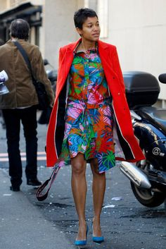 Shirt dress and coat. Tropical inspired print. Primary brights. Red, Blue, Pink and Green.