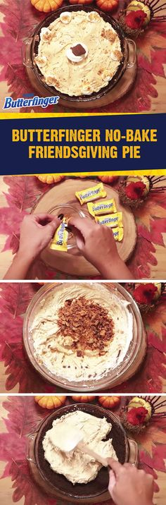 This holiday season, celebrate all of the special people in your life with a little help from this Butterfinger No-Bake Friendsgiving Pie. Cream cheese, powdered sugar, peanut butter, a chocolate graham cracker crust, and BUTTERFINGER® Fun Size candy bars come together in one crispety, crunchety, peanut-buttery treat. Click here to see the full easy dessert recipe.