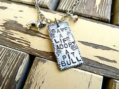 Save a Life Adopt a Pitbull Necklace Pit Bull by Crafting4Cause