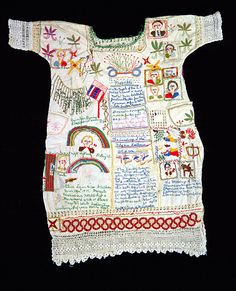 Embroidered Garment by Alice Eugenia Ligon / American Art Embroidered Garment ca. 1949 Alice Eugenia Ligon Born: Missouri 1886 Died: Fulton, Missouri 1959 embroidered muslin, cotton crochet; pencil; cotton rick-rack trim 43 3/4 x 38 1/2 in. (111.1 x 97.8 cm.) Smithsonian American Art Museum