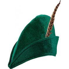 Robin Hood hoed voor maar  �5.99 bij SpeelgoedSjop.com. Groen Robin Hood hoedje met vogelveer. Het hoedje is one size, ongeveer 58 centimeter. De hoed is