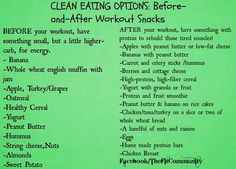 Snacks before/after workout