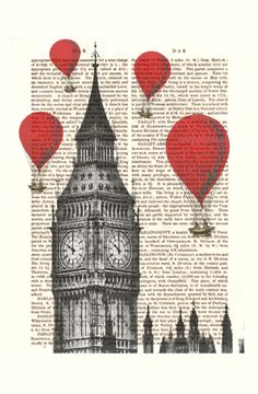 Hot Air Balloons in London Big Ben Dictionary book page art print £7.50