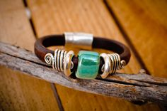 Western Cedar Leather Bracelet | Handmade jewelry made in Montana -  Bright and stunning hues, like the tree for which it's named. Walk among the ancient Cedar trees in the Bitterroot Wilderness and you will feel a sense of awe among the towering groves.