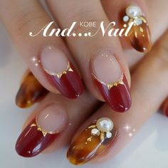 just like the red tips/gold bows! Not a fan of the other nails Love Nails, Red Nails, Pretty Nails, How To Do Nails, French Nails, Kawaii Nails, Nail Polish Art, Japanese Nails, Manicure E Pedicure