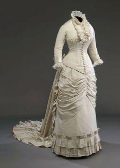 white bustle dress