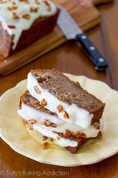 Best-Ever Banana Bread with Cream Cheese Frosting. 4 whole bananas, brown sugar, extra egg, and yogurt makes this banana bread super-moist and soft. Read more at sallysbakingaddiction.com