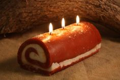 We love making our candles look like the real thing. We did this with the pumpkin roll candle, by hand forming the roll, just like you would the real thing. We