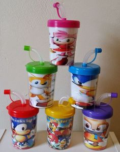 SONIC THE HEDGEHOG PERSONALIZED WITH THANKS FOR COMING PARTY FAVOR CUPS BIRTHDAY TREAT CUPS SET OF 6, BPA FREE, AMY ROSE, KNUCKLES, TAILS