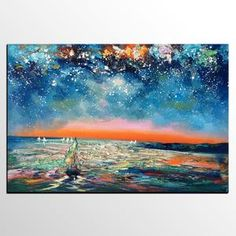Custom Extra Large Wall Art, Sail Boat under Starry Night Sky Painting, Landscape Oil Painting, Palette Knife Artwork, Large Canvas Painting Extra Large Wall Art, Hand Painting Art, Sky Painting, Oil Painting Landscape, Oil Painting Texture, Canvas Art Painting, Night Sky Painting, Textured Artwork, Large Canvas Painting