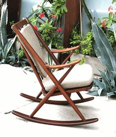 Serious glamour-lounge vibes from this Scandinavian Danish modern rocking chair Recycled Furniture, Kids Furniture, Furniture Design, Bedroom Furniture, Kids Bedroom Paint, Rocking Chair Nursery, Rocking Chairs, Restaurant Chairs For Sale, Wrought Iron Patio Chairs