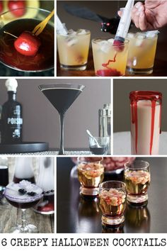 6 Creepy Halloween Cocktails - The Poison Apple, Vampire Cocktail, The Blackbeard, Pina Ghouladas, Mr. Hyde Potion, and Bloody Brain Shooters.