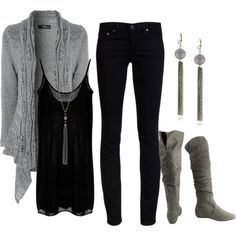 """Gray N Black"" by blissful11 on Polyvore"