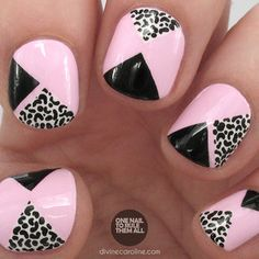 Nail Art Take a Walk on the Wild Side with Pink Geometric Leopard Spots Divine Caroline