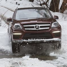 Through the river and over the woods. Drive confidently this winter with all-wheel drive, now available on virtually every model we make. Mercedes Benz Gl Class, Dream Cars, Super Cars, Vehicles, Model, Instagram, Woods, River, Beautiful