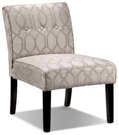 Eye Candy. Add some serious visual interest to your living room or bedroom with the eye-catching Candace accent chair. The armless slipper chair design provides room for you to sit comfortably, while the geometric silver pattern over beige fabric livens up your décor. Merlot-coloured legs ground this chair in rich elegance.