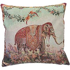 @Overstock - Add some Indian flair and comfort to your sofa or bed with this decorative square throw pillow from Corona. This pillow features an elephant design with lovely shades of rust, brown, and green that are sure to complement a variety of decors. http://www.overstock.com/Home-Garden/French-Woven-Elephant-Decorative-Pillow/6608992/product.html?CID=214117 $84.99
