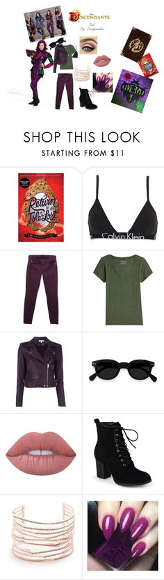 """""""Descendants 2 Mal outfit"""" by dangerousbri on Polyvore featuring Disney, Calvin Klein Underwear, 7 For All Mankind, Velvet, IRO, Lime Crime, Journee Collection and Alexis Bittar"""
