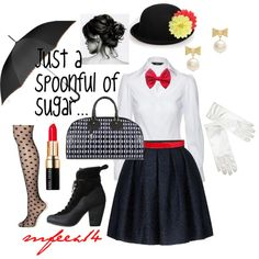 "DIY Halloween Costume - Mary Poppins.  (Solid black tights would be more ""authentic"".)"