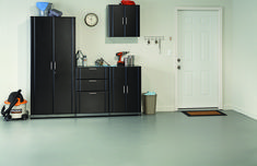 Enjoy the ClosetMaid 32 in. Garage Cabinet made of wood is a lockable storage unit with black door fronts and metal handles at The Home Depot Utility Room Storage, Garage Storage Systems, Garage Storage Cabinets, Storage Spaces, Tall Cabinet Storage, Locker Storage, Garage Organization, Base Cabinets, Adjustable Shelving